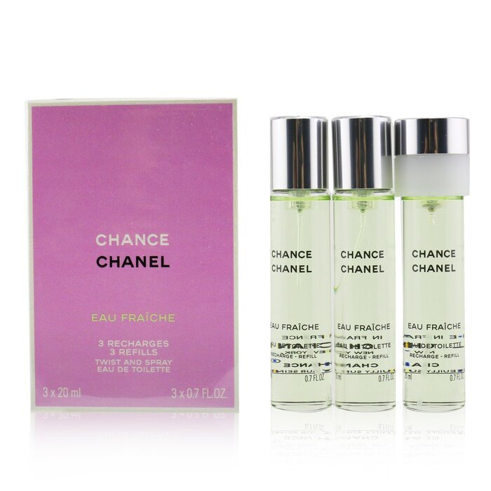 chanel chance eau fraiche twist spray eau de toilette refill 3x20ml cosmetics now australia
