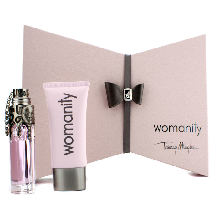 thierry mugler womanity coffret eau de parfum spray 50ml perfumed body milk 100ml. Black Bedroom Furniture Sets. Home Design Ideas