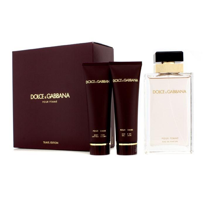 dolce gabbana pour femme coffret eau de parfum spray 100ml body lotion 50ml shower gel. Black Bedroom Furniture Sets. Home Design Ideas
