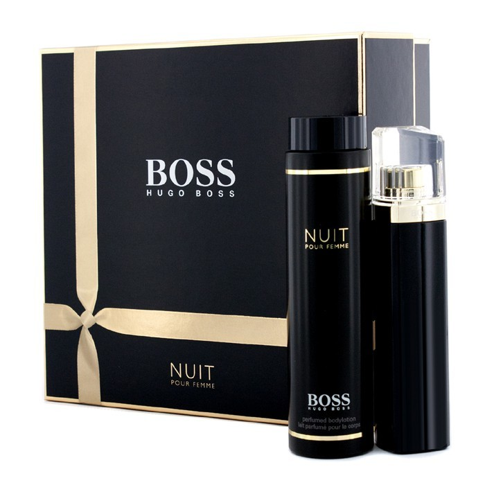 hugo boss boss nuit pour femme coffret eau de parfum spray 75ml body lotion 200ml. Black Bedroom Furniture Sets. Home Design Ideas