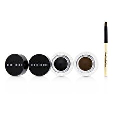 Bobbi Brown Lange Wear Gel Eyeliner Duo: 2x Gel Eyeliner 3g (schwarze Tinte, Sepia-Tinte) + Mini Ultrafein Eye Liner Pinsel 3pcs