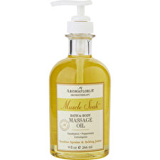 Aromafloria Muscle Soak Bath And Body Massage Oil Blend Of Eucalyptus Peppermint And Lemongrass 266ml/9oz