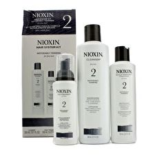 Nioxin System 2 System Kit For Fine & Noticeably Thinning Hair : Cleanser 300ml+Therapy 150ml+Treatment 100ml (Box Slightly Damaged) 3pcs