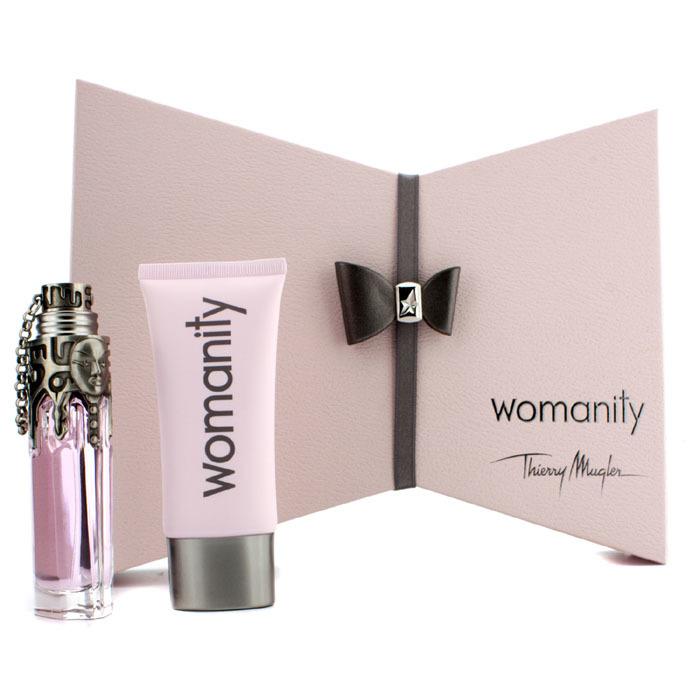 thierry mugler womanity coffret eau de parfum spray 50ml perfumed body milk 100ml. Black Bedroom Furniture Sets. Home Design Ideas