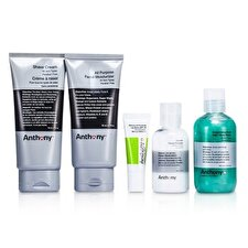 Anthony Logistics For Men Das Essential Traveller Kit: Reiniger + Mositorizer + Lip Blam + Rasiercreme + Haar- und Duschgel 5St