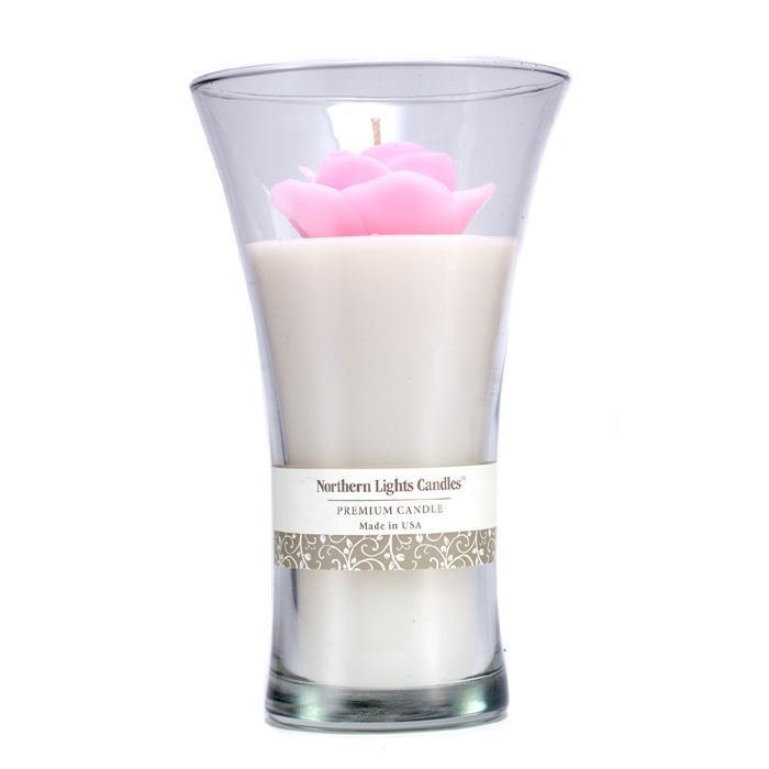 Northern Lights Candles Floral Vase Premium Candle Pink Rose 9 Inch Cosmetics Now Us