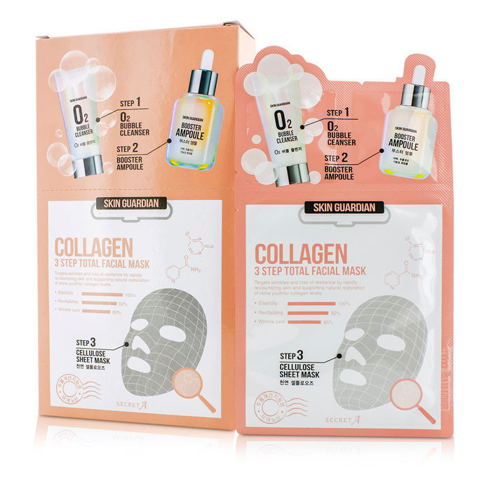Secret A Skin Guardian 3 Step Total Facial Mask Kit Collagen 10x29ml 0 98oz Cosmetics Now Us