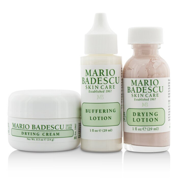 Mario Badescu Acne Repair Kit Drying Lotion 29ml Drying Cream 14g Buffering Lotion 29ml 3pcs