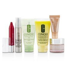Clinique Travel Set: Gesichtsseife 30ml + DDML + 30ml + Moisture Surge Intensiv 15ml + Smart-Serum 10ml + Eye Serum 5ml + Chubby Stick-# 05 6pcs