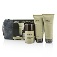 Ahava Travel Essentials For Men Set: Exfoliating Cleansing Gel 100ml + Shaving Cream 100ml + After-Shave Moisturizer 50ml 3pcs