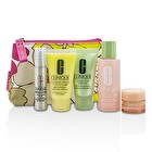 Clinique Travel Set: Facial Soap 30ml + Lotion 3 60ml + DDMG 30ml + Serum 10ml + All About Eyes 7ml + Bag 5pcs+1bag