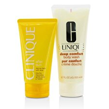 Summer In Clinique Set: Deep Comfort Body Wash 200ml/6.7oz + After Sun Rescue Balm 150ml/5oz 2pcs