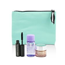Clinique Travel Set: All About Eye 15ml + Mascara 3.5ml + Eye Makeup Remover 30ml+1Bag 3pcs+1bag