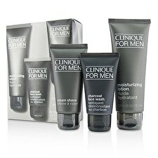 Clinique Custom-Fit Daily Hydration Set: Charcoal Face Wash 50ml/1.7oz + Cream Shave 60ml/2oz + Moisturizing Lotion 100ml/3.4oz 3pcs