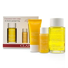Clarins At-Home Pampering Body Kit: 1x Tonic Body Treatment Oil, 1x Bath & Shower Concentrate, 1x Tonic Body Balm 3pcs