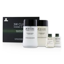 3W Clinic Homme Classic Moisturizing Freshness Essential Skin Care Set: Essential Skin 150ml+30ml + Essential Lotion 150ml+30ml 4pcs